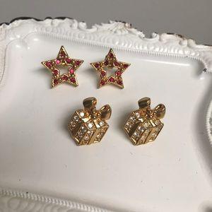 2 Pairs Vintage Avon Christmas Earrings